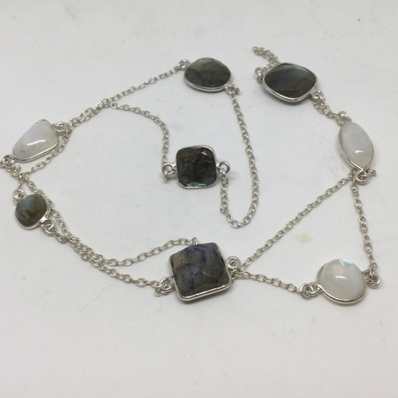 Handmade Jewelry - Moonstone and Labradorite Silver Long Necklace
